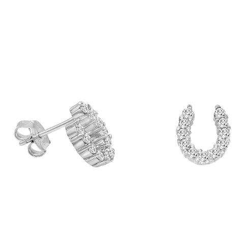 Amanda Rose Sterling Silver CZ Horseshoe Earrings