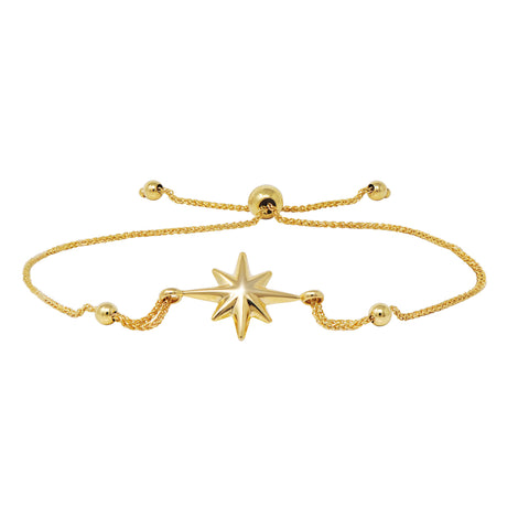 Starburst Bolo Bracelet in 14k Yellow Gold (Adjustable)