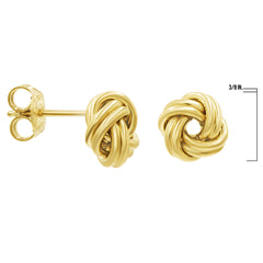 Shiny Love Knot Stud Earrings in 14K Gold