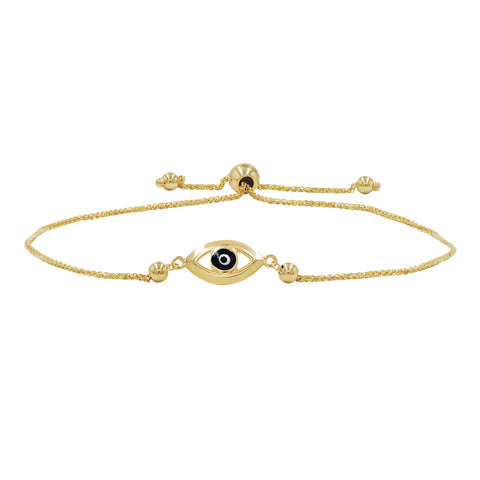 Amanda Rose Evil Eye Bolo Bracelet in 14k Yellow Gold (Adjustable)