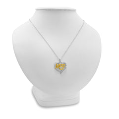 Sterling Silver and Diamond Mom in Heart Pendant-Necklace , Pendants - MLG Jewelry, MLG Jewelry  - 3