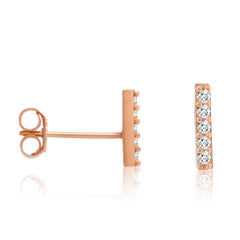 Amanda Rose Cubic Zirconia Rose Gold Plated Bar Earrings in Sterling Silver , trend, Earrings - MLG Jewelry, MLG Jewelry  - 1