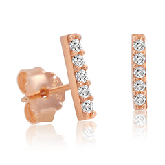Amanda Rose Cubic Zirconia Rose Gold Plated Bar Earrings in Sterling Silver