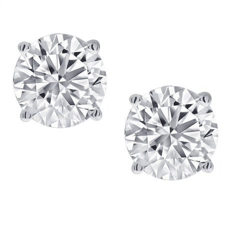 1/2ct tw Round Diamond Stud Earrings set in 14K White Gold with Screw-Backs
