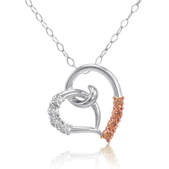 Diamond Heart in Sterling Silver with Champaign and White Diamonds