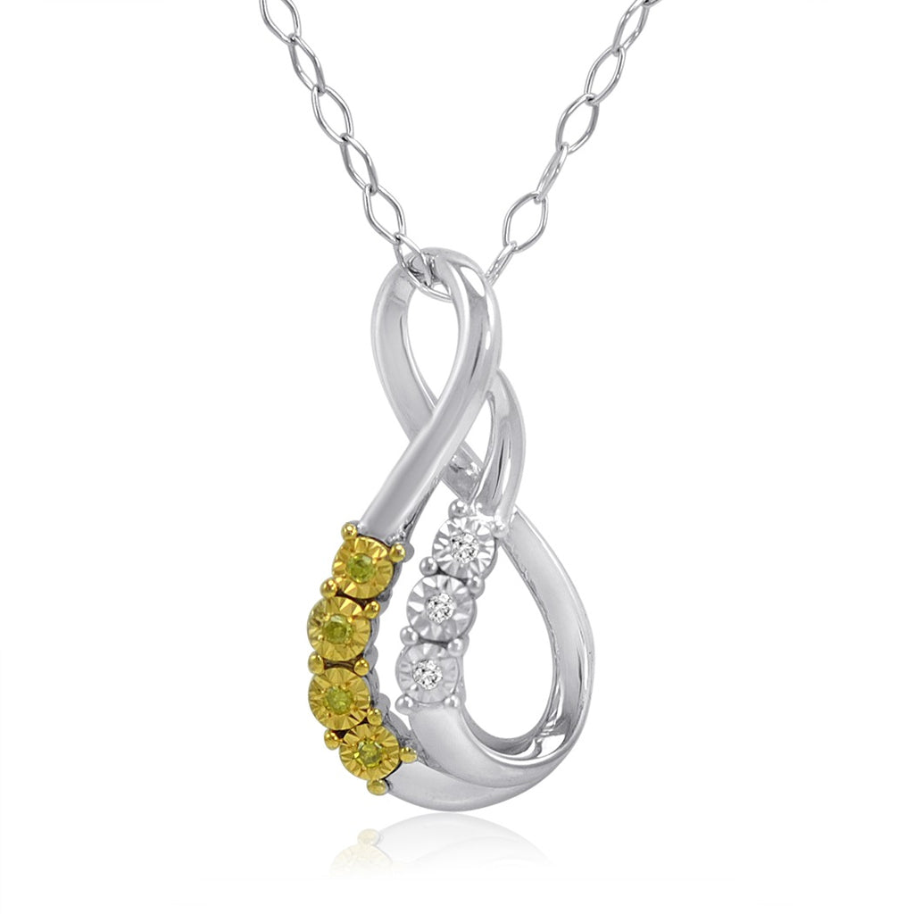 Yellow and White Diamond Swirl Pendant-Necklace in Sterling Silver , Gifts Under $99 - MLG Jewelry, MLG Jewelry  - 1