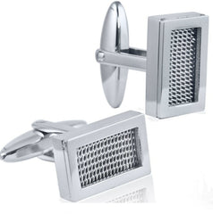 Mens Classic Mesh Patterned Stainless Steel Cufflinks