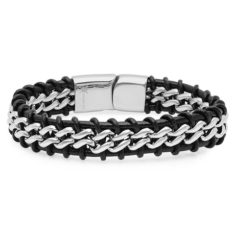 Oxford Ivy Mens Faux Leather and Stainless Steel Bracelet
