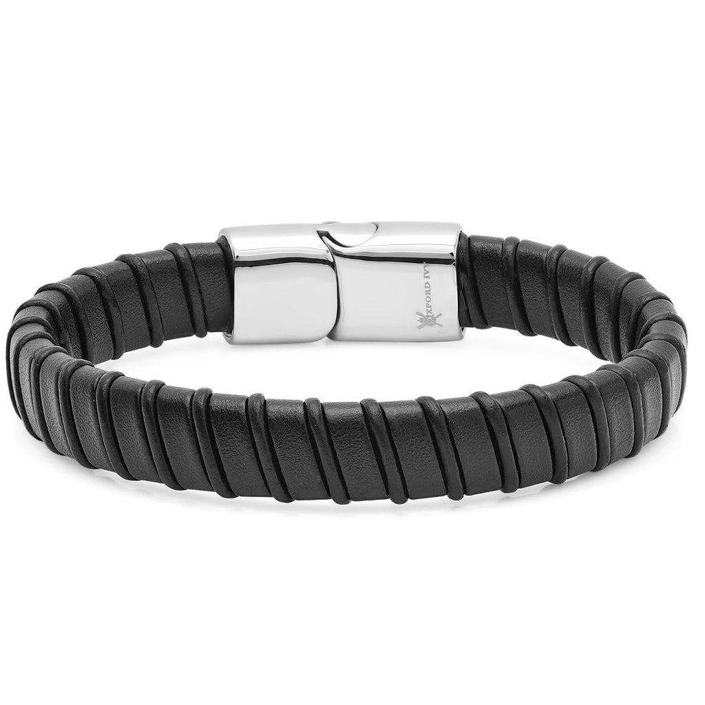 Oxford Ivy Mens Faux Leather Bracelet with Locking Stainless Steel Clasp 8 1/2 inches , Bracelets - MLG Jewelry, MLG Jewelry