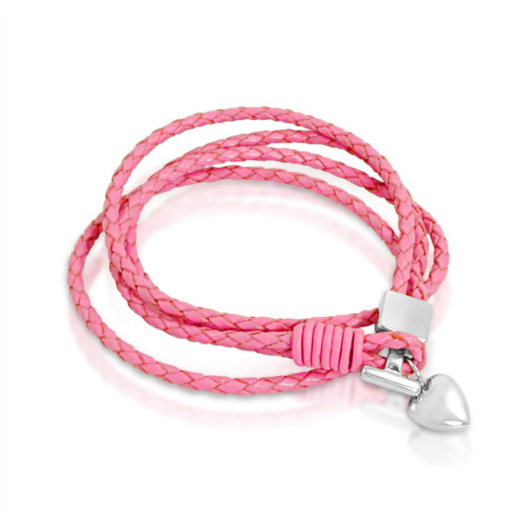 Ladies Braided Pink Leather Wrap Around Heart Toggle Bracelet