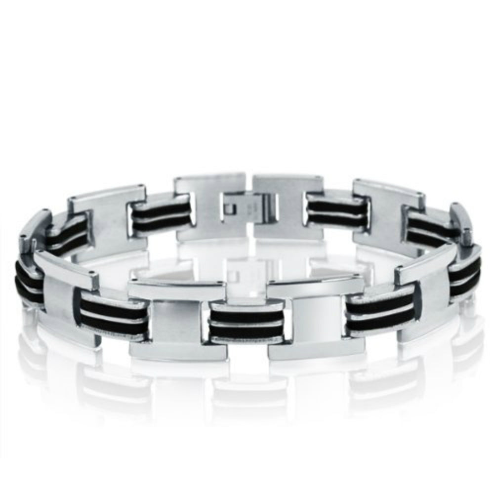Oxford Ivy  Stainless Steel with Black Rubber Chain Link Mens  Bracelet 8 1/2inches , Bracelets - MLG Jewelry, MLG Jewelry