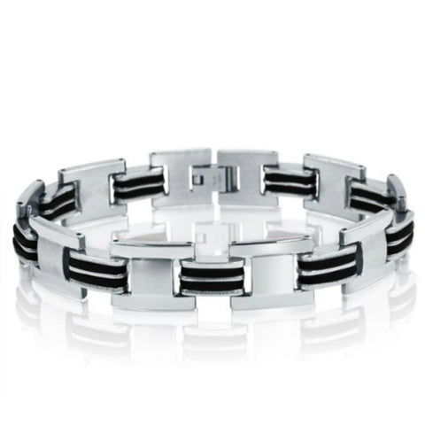 Oxford Ivy  Stainless Steel with Black Rubber Chain Link Mens  Bracelet 8 1/2inches