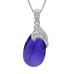 Sterling Silver Purple Crystal Tear Drop Pendant-Necklace with Swarovski Elements , Gifts Under $99 - MLG Jewelry, MLG Jewelry  - 1
