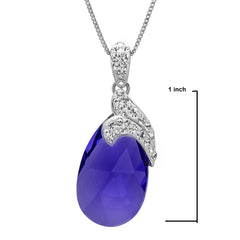 Sterling Silver Purple Crystal Tear Drop Pendant-Necklace with Swarovski Elements , Gifts Under $99 - MLG Jewelry, MLG Jewelry  - 2