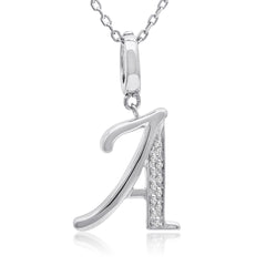 Diamond Initial Charm Pendant - Necklace in Sterling Silver  (18in. Sterling Silver Chain)