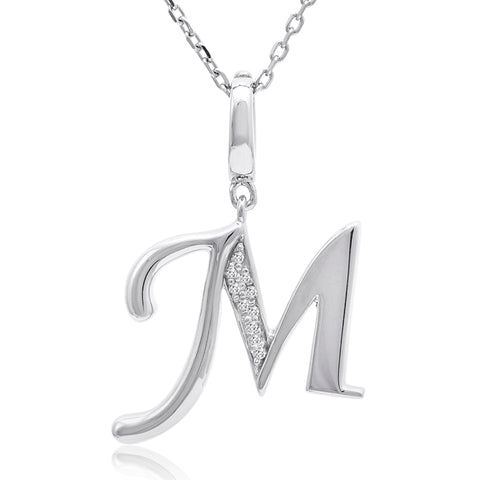 Diamond Initial M Charm Pendant in Sterling Silver on an 18in. Chain