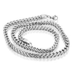 Mens Solid 22 inch Stainless Steel Silver Color Link Chain Necklace , Accessories - MLG Jewelry, MLG Jewelry  - 2