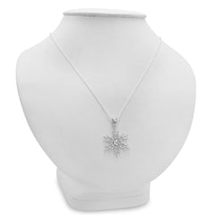 Diamond Accent Snowflake Pendant-Necklace in Sterling Silver , Pendants - MLG Jewelry, MLG Jewelry  - 3