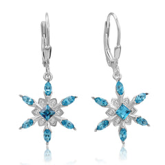 Sterling Silver Aqua Blue Crystal Stud Earrings with Swarovski Elements , Gifts Under $99, Swarovski Earrings, Earrings - MLG Jewelry, MLG Jewelry  - 2