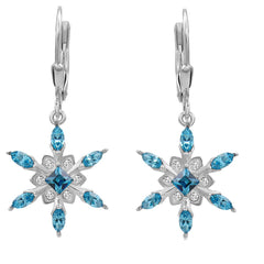 Sterling Silver Aqua Blue Crystal Stud Earrings with Swarovski Elements , Gifts Under $99, Swarovski Earrings, Earrings - MLG Jewelry, MLG Jewelry  - 1