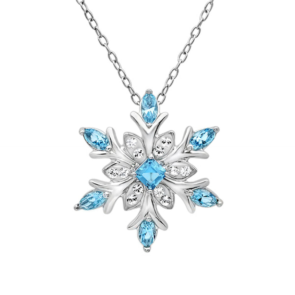 Sterling Silver Snowflake Pendant-Necklace made with SWAROVSKI CRYSTALS on an 18 inch Sterling Silver Chain