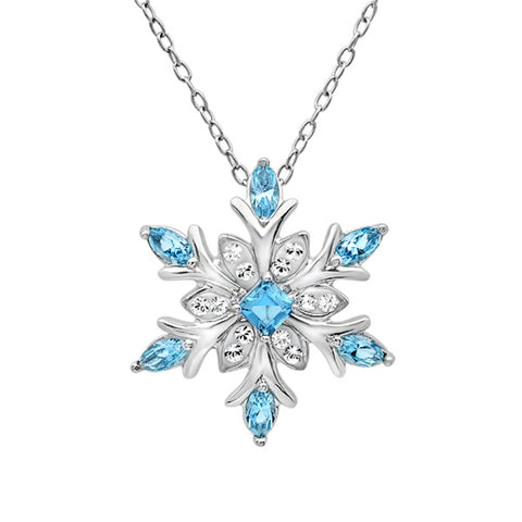 Sterling Silver Blue and White Snowflake Pendant Necklace with Swarovski Crystals