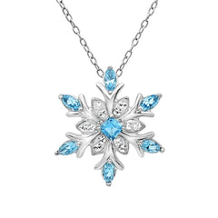 Sterling Silver Blue and White Snowflake Pendant Necklace with Swarovski Crystals , Gifts Under $99 - MLG Jewelry, MLG Jewelry  - 1