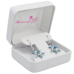 Sterling Silver Aqua Blue Crystal Stud Earrings with Swarovski Elements , Gifts Under $99, Swarovski Earrings, Earrings - MLG Jewelry, MLG Jewelry  - 4