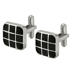 Mens Classic Stainless Steel Cufflinks with Black Enamel , Mens - MLG Jewelry, MLG Jewelry  - 2