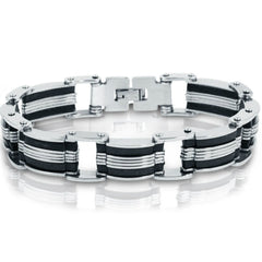 Oxford Ivy  Stainless Steel with Black Rubber Mens Chain Link Bracelet 8 inch