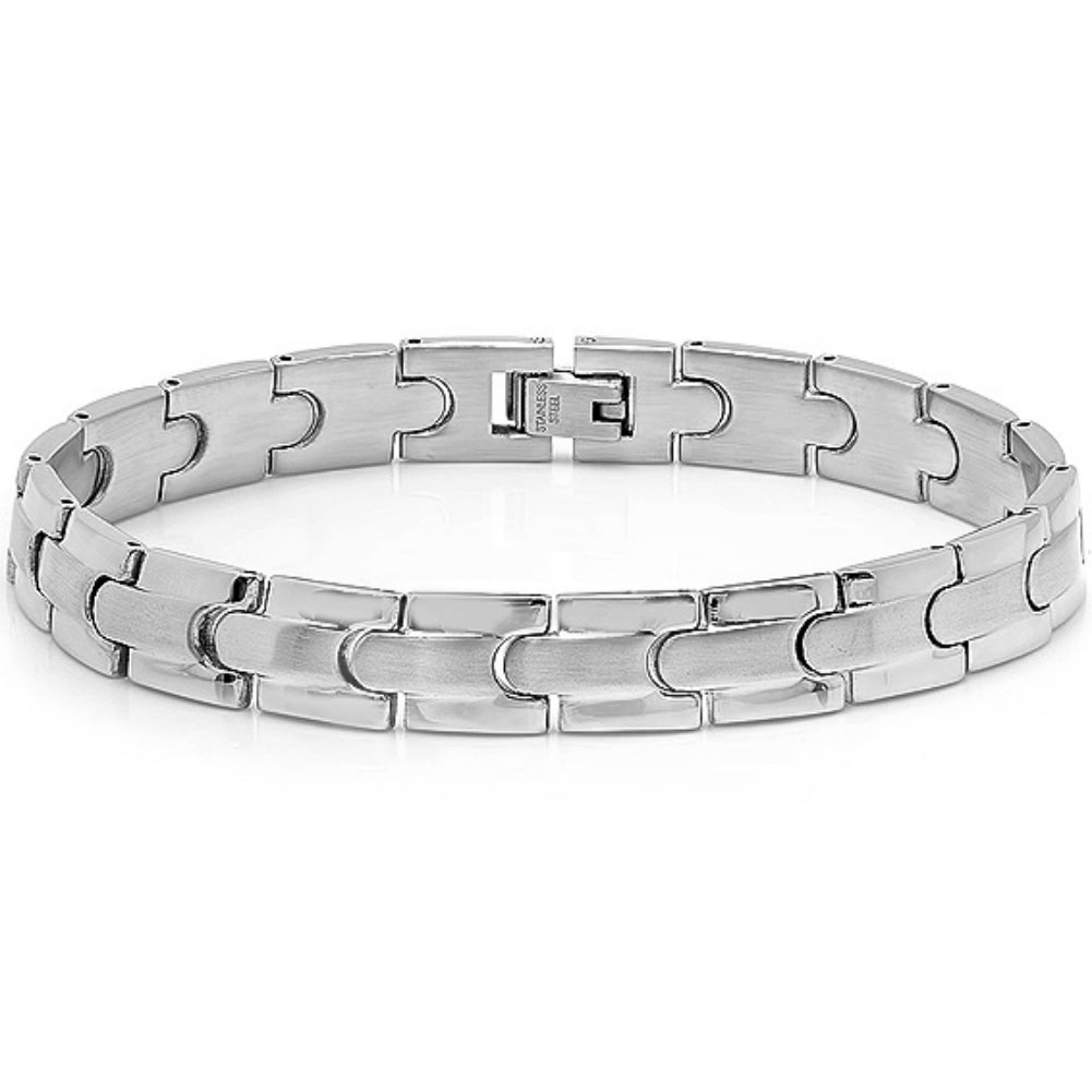 Oxford Ivy Mens Solid Stainless Steel Solid Chain Link Bracelet 8 1/4 inches , Bracelets - MLG Jewelry, MLG Jewelry  - 1