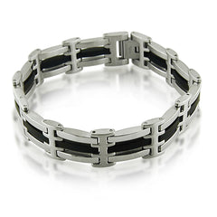 Oxford Ivy  Mens Stainless Steel and Black Rubber Link Bracelet 8 1/2 inches