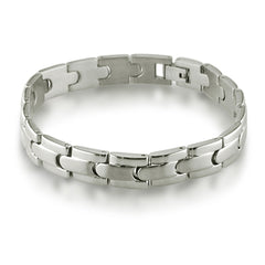 Oxford Ivy Mens Solid Stainless Steel Solid Link Mens Bracelet 8 3/4 inches , Bracelets - MLG Jewelry, MLG Jewelry  - 3