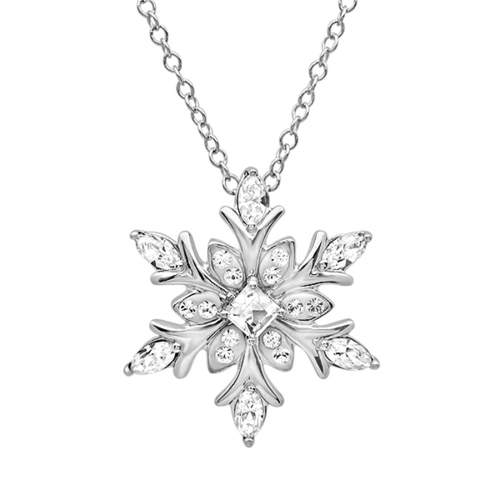 .925 Sterling Silver Snowflake Necklace made with Swarovski Crystals