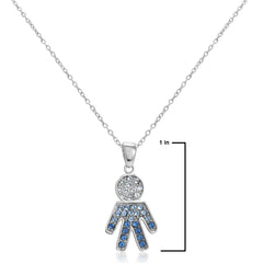 Sterling Silver Blue and White Crystal Boy Pendant with Swarovski Elements , Gifts Under $99 - MLG Jewelry, MLG Jewelry  - 2