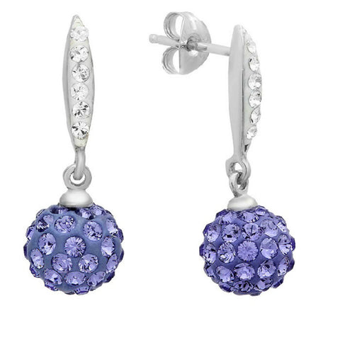 Sterling Silver Dangle Earrings made with Purple and White Swarovski Crystals