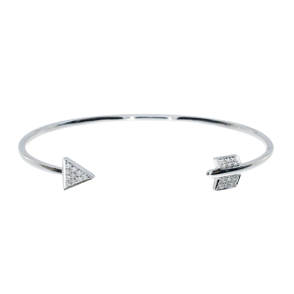 14K White Gold Heart and Arrow Diamond Fashion Bangle Bracelet , Bracelets, Gifts Under $99 - MLG Jewelry, MLG Jewelry