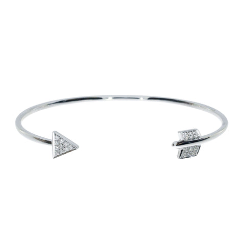 14K White Gold Heart and Arrow Diamond Fashion Bangle Bracelet