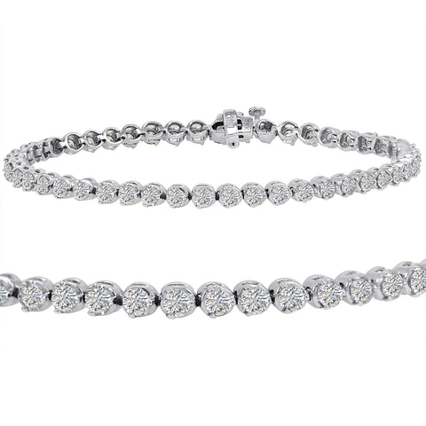 AGS Certified 5ct tw Diamond Tennis Bracelet in 14K White Gold  7 1/2 inch