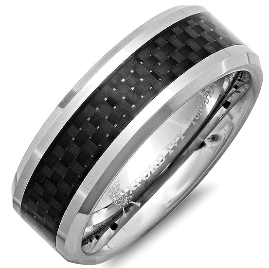 8mm Mens Comfort Fit Carbon Fiber Tungsten Wedding Band ( Available Ring Sizes 8-12)