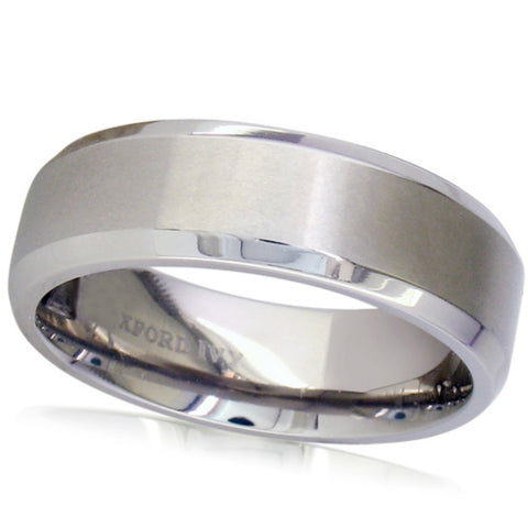 7mm Beveled Edge Mens Comfort Fit Titanium Plain Wedding Band ( Available Ring Sizes 7-12 1/2)