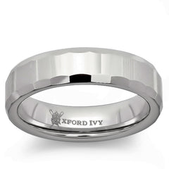 6mm Mens Beveled Edge Comfort Fit Tungsten Wedding Band ( Available Sizes 8-12 1/2)