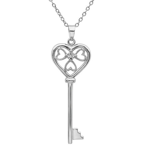 Diamond Key to Her Heart Pendant-Necklace in Sterling Silver