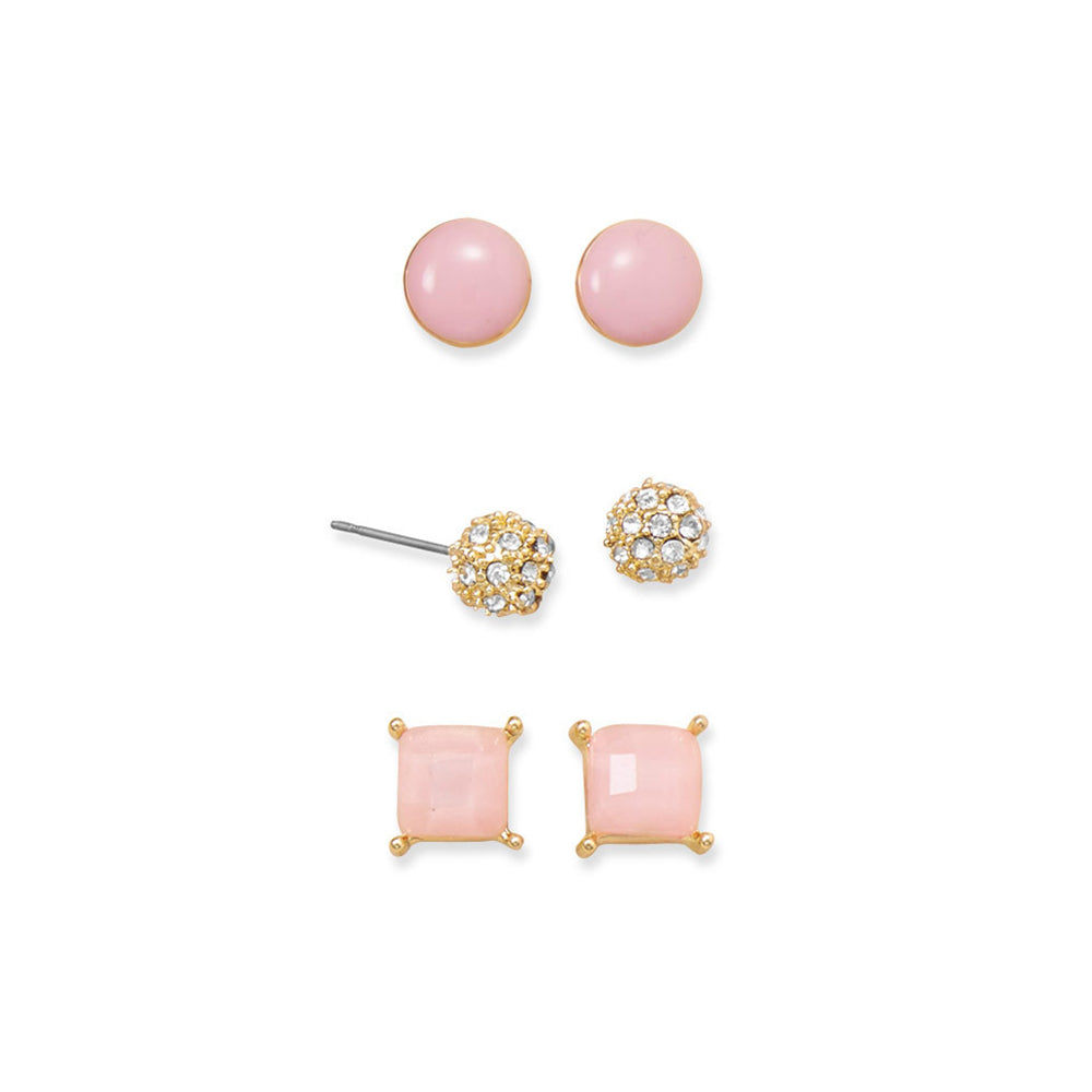 Amanda Rose Trendy Pink Fashion Earrings (Set of 3)
