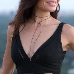 Amanda Rose Black Leather Fashion Choker with Labradorite Bead Ends
