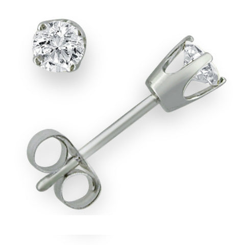 IGI Certified 14K White Gold Round Diamond Stud Earrings 1/4 ct tw.