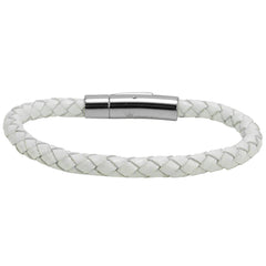 Oxford Ivy Braided White Leather 6mm Bracelet with Stainless Steel Locking Clasp 7 1/2 inches