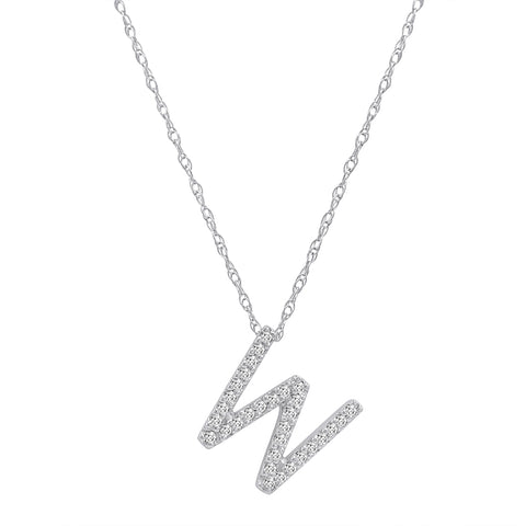 "14K White Gold Diamond ""W"" Initial Pendant, 16"" Necklace"