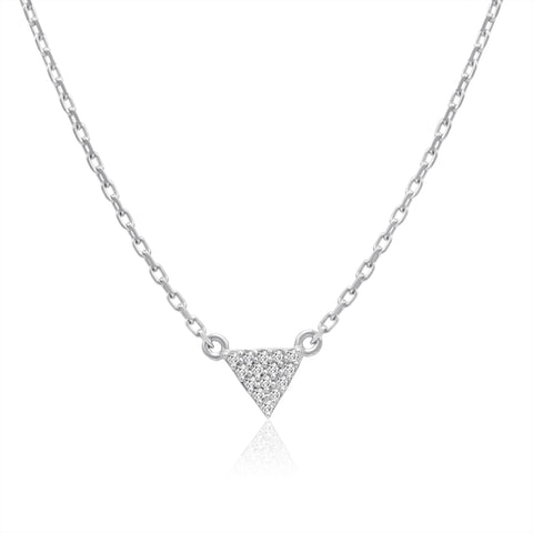 "Amanda Rose Cubic Zirconia Triangle Necklace in Sterling Silver on a 16-18"" Adjustable Chain"