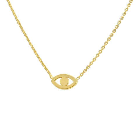 Amanda Rose 14k Yellow Gold Evil Eye Necklace on a 16-18 in. Adjustable Chain
